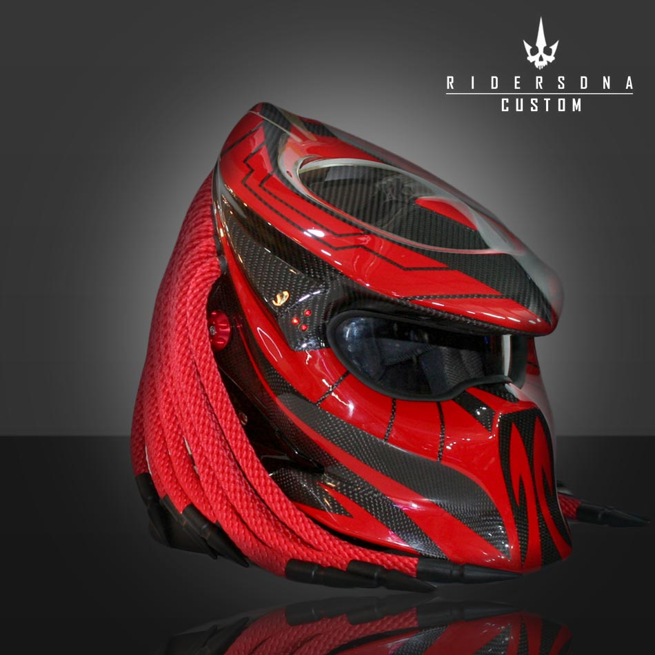 REd-Predator-Black-STripe-Full-Face-Motorcycle-Helmet-Custom-Paint
