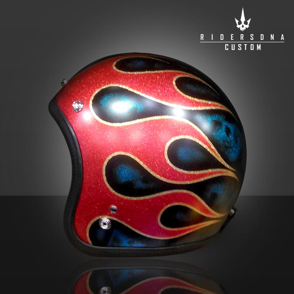 Red Fire Metal Flake Black Blue Ghost Skull Open Face Airbrush Jet Riders Dna Hand Paint Helmet